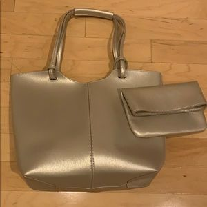 Neiman Marcus tote and matching clutch NWOT